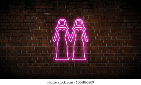 Two women in their wedding dress