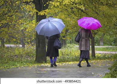 two women with umbrellas walk in the autumn park in the rain motion blur