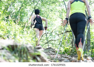 Two women walk together in the mountains in summer. Nordic walking technique. Trekking poles
