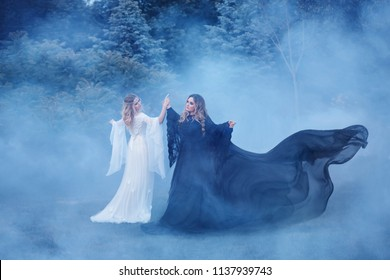 Two women yin yang in the fog. The Dark Magician meets the Light Elf a sorceress. Mighty witches are dancing in the woods, their dresses are fluttering in the wind. Fairy forest in a dense fog