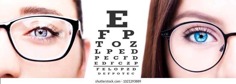 Two women's checking the eyesight with vision test with the eye chart