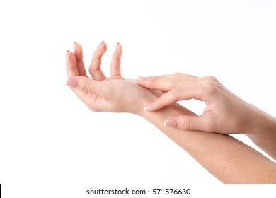 two women's hands behind one on