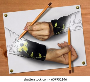 Two women's hands are drawing each other with pencils.