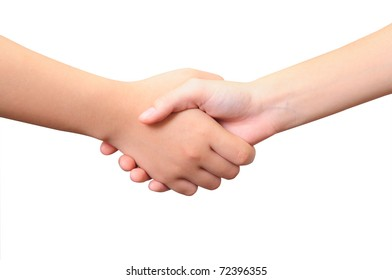 Two Women's Hands- Handshake - Isolated over White Background