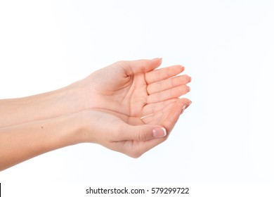 two women's hands with the Palms is isolated on a white background