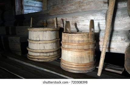 Two wood  casks