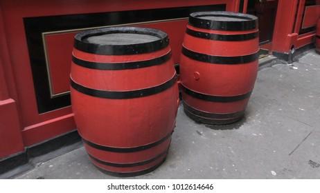 Two wooden barrels.