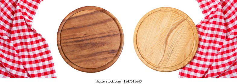 Two wooden board mock up top view isolated on white background copy space.