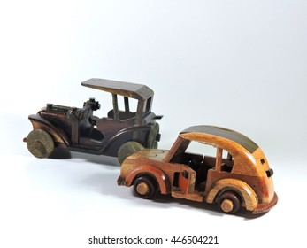 Two Wooden Car Toy Isolated on White