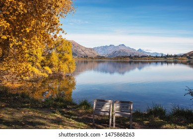 two wooden chair along the lake hayes scenery in Autumn,New Zealand beautiful landscape