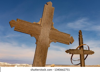 Two Wooden Crosses in an Abandoned Cemetery in the Atacama Desert, Northern Chile. From the era of nitrate mining