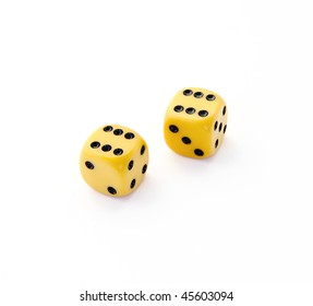 Two wooden dices for child games.