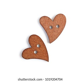 Two wooden hearts isolated on isolated clipping mask on white background, top view illustration for valentine's day or wedding
