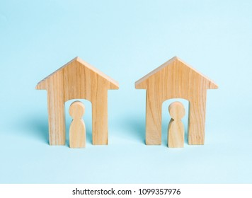Two wooden houses with neighbors. Two neighbors. Good neighborhood, district. Communication, communication between two people and houses. Houses in the village