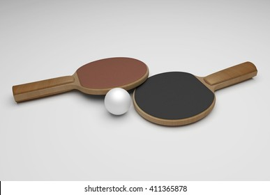 two wooden ping pong rackets and white ball, 3D Rendering