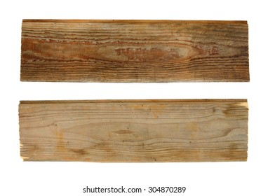 Two wooden planks isolated on white background. Top and bottom view.