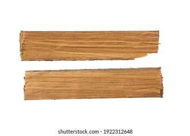 Two wooden slats isolated on a white background.