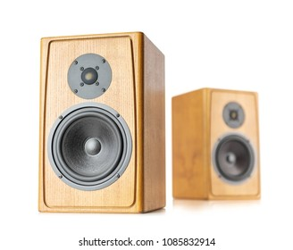 Two wooden speakers isolated on white background. File contains a path to isolation.