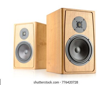 Two wooden speakers isolated on white background.