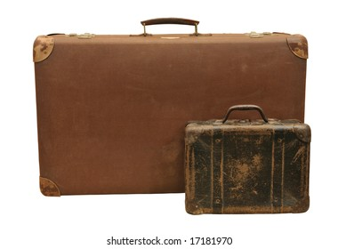 Two wooden suitcase with different size, isolated on white.