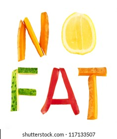 two word of letter -   n o f a t  - no fat