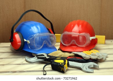 Two worker's helmets close up. Safety concept