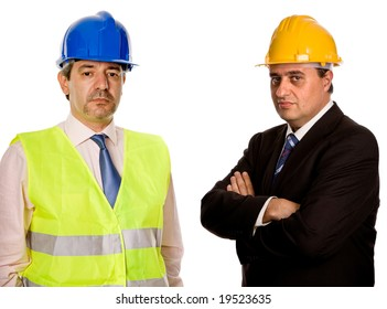 two workers isolated in a white background