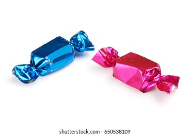 Two wrapped candies or sweets isolated on a white background with shadows.
