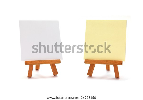 two write boards on wooden art easels isolated on white background