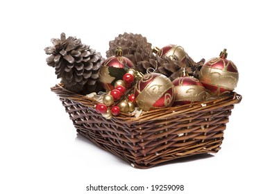 Two xmas basket in a white back