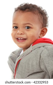 Two Years Old Adorable African American Boy Portrait on White Background