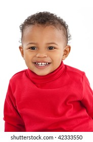 Two Years Old Adorable African American Boy Portrait on White Background Wearing Red Turtelneck Shirt