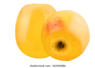 Two yellow apples isolated on white background with clipping path as a package design element.