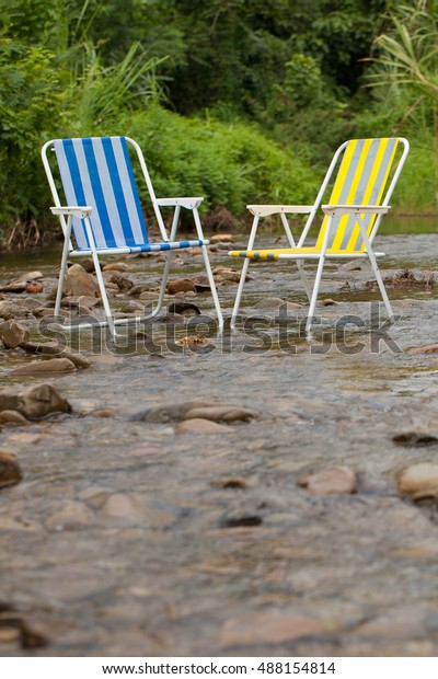 Super Two Yellow Blue Chair Put Stream Stock Photo Edit Now Pdpeps Interior Chair Design Pdpepsorg