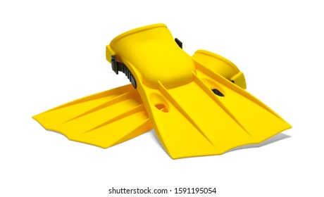 Two Yellow Flippers Crossed Front View Isolated on White Background.