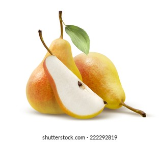 Two yellow pears and quarter split isolated on white background as package design element