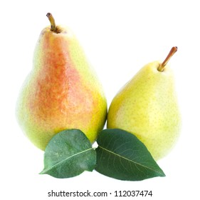 Two yellow and red pears with two leaves isolated on white background