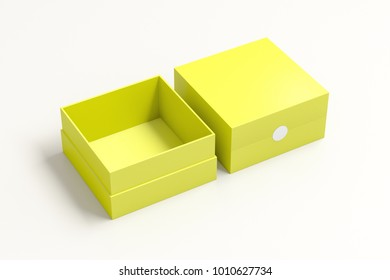 Two yellow square boxes opened and closed on white background. 3d illustration