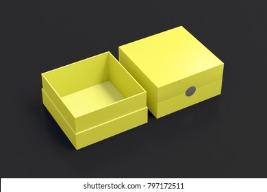 Two yellow square boxes opened and closed on black background. 3d illustration