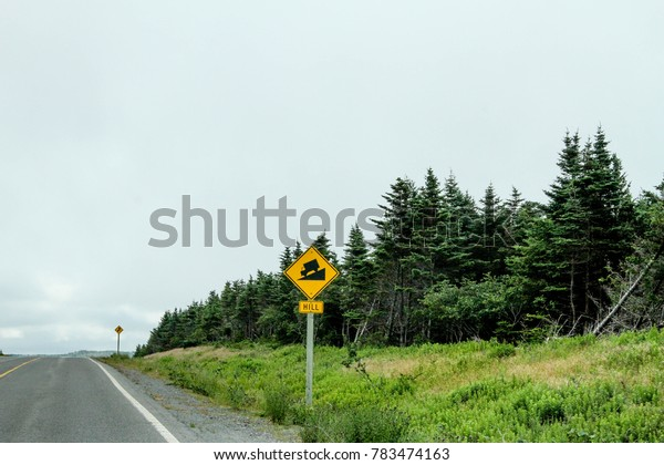 Two Yellow Street Signs in Newfoundland Canada