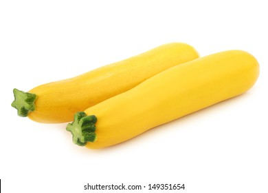 two yellow zucchini's on a white background