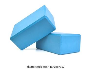 Two yoga blocks isolated on a white background - Image