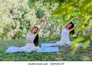 Two young asian girls wear white Yoga suit practicing doing yoga pose under the big tree and meditation at the park concept is healthy lifestyle.