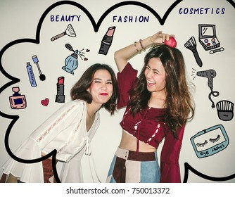Two Young Asian women friends having fun , playing and laughing , surrounded with cosmetics illustrator doodles - beauty blogger concept