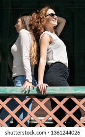 Two young attractive fashionable women