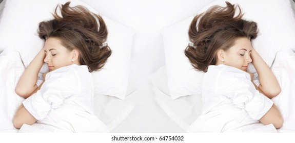 two young attractive women sleeping in bed
