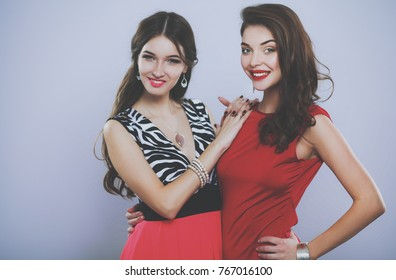 Two young beauty women standing together . Two young beauty wome