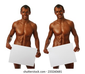 Two young bodybuilder showing copy space bank pages isolated on white