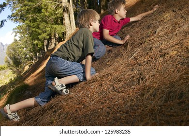 Two young boys prone to the earth creeping their way up a steep bank in a forest or woodland