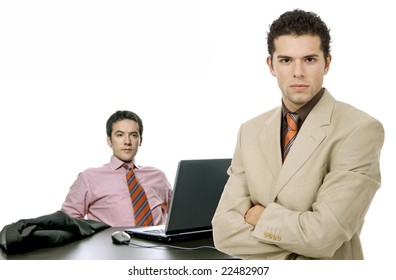 two young business man working with is laptop